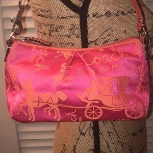 Rare Coach Pink/Orange Horse & Carriage Mini Bag